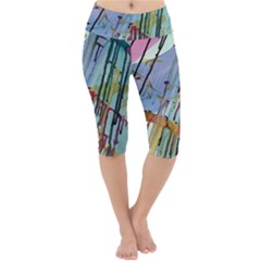 Chaos In Colour  Lightweight Velour Cropped Yoga Leggings by ArtByAng