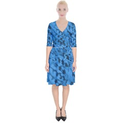 Blue Feathers Wrap Up Cocktail Dress by greenthanet