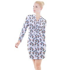 Flaming Gogo Button Long Sleeve Dress by ArtByAng