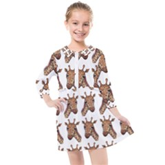Giraffe Kids  Quarter Sleeve Shirt Dress by ArtByAng