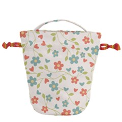 Flowers Pattern Drawstring Bucket Bag by Hansue