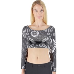 Floral Pattern Long Sleeve Crop Top by Hansue