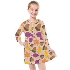 Acorn Pattern Kids  Quarter Sleeve Shirt Dress by Hansue
