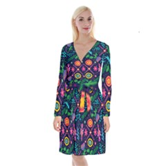 Colorful Pattern Long Sleeve Velvet Front Wrap Dress