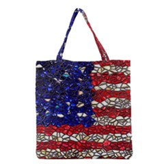 American Flag Mosaic Grocery Tote Bag by bloomingvinedesign
