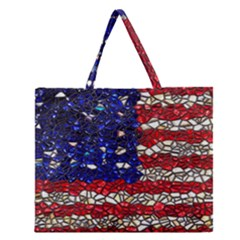 American Flag Mosaic Zipper Large Tote Bag by bloomingvinedesign