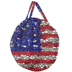 American Flag Mosaic Giant Round Zipper Tote by bloomingvinedesign