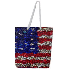 American Flag Mosaic Full Print Rope Handle Tote (large) by bloomingvinedesign