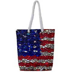 American Flag Mosaic Full Print Rope Handle Tote (small) by bloomingvinedesign