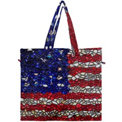 American Flag Mosaic Canvas Travel Bag by bloomingvinedesign