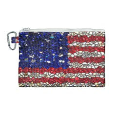 American Flag Mosaic Canvas Cosmetic Bag (large) by bloomingvinedesign