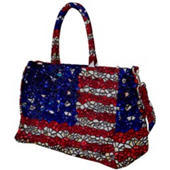 American Flag Mosaic Duffel Travel Bag by bloomingvinedesign