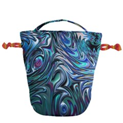 Blue Fractal Swirl Drawstring Bucket Bag by bloomingvinedesign