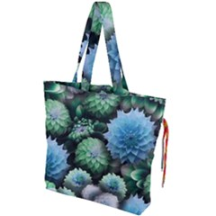 Blue Green Dahlia Collage Drawstring Tote Bag by bloomingvinedesign