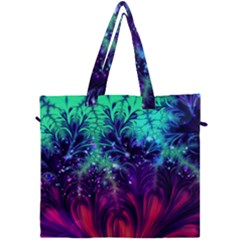 Bluegreen And Pink Fractal Canvas Travel Bag by bloomingvinedesign