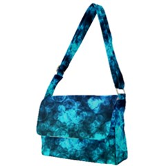 Blue Ocean Bokeh Lights Full Print Messenger Bag by bloomingvinedesign