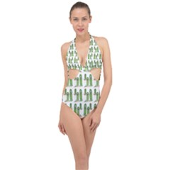 Prickle Plants Halter Front Plunge Swimsuit