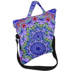 Blue Red White Kaleidoscope 121 Fold Over Handle Tote Bag