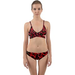 Red Chili Peppers Pattern Wrap Around Bikini Set by bloomingvinedesign