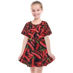 Red Chili Peppers Pattern Kids  Smock Dress by bloomingvinedesign