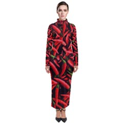 Red Chili Peppers Pattern Turtleneck Maxi Dress
