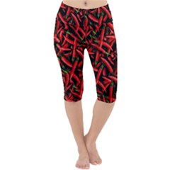 Red Chili Peppers Pattern Lightweight Velour Cropped Yoga Leggings