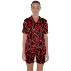 Red Chili Peppers Pattern Satin Short Sleeve Pyjamas Set