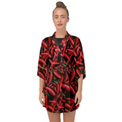 Red Chili Peppers Pattern Half Sleeve Chiffon Kimono
