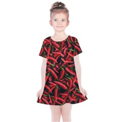 Red Chili Peppers Pattern Kids  Simple Cotton Dress