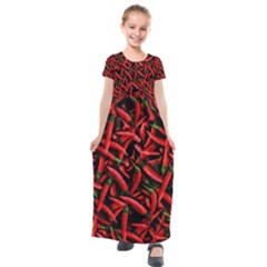 Red Chili Peppers Pattern Kids  Short Sleeve Maxi Dress by bloomingvinedesign