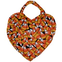 Candy Corn Pattern Giant Heart Shaped Tote by bloomingvinedesign