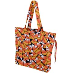 Candy Corn Pattern Drawstring Tote Bag by bloomingvinedesign