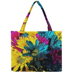 Colorful Daisies With Line Mini Tote Bag by bloomingvinedesign