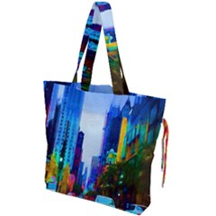 Driving In A Chicago Rainbow Drawstring Tote Bag by bloomingvinedesign