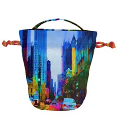 Driving In A Chicago Rainbow Drawstring Bucket Bag by bloomingvinedesign