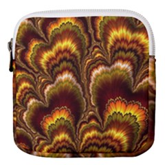 Earthtone Feather Fractal Mini Square Pouch