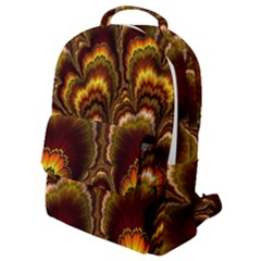 Earthtone Feather Fractal Flap Pocket Backpack (small) by bloomingvinedesign