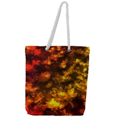 Fall Leaves In Bokeh Lights Full Print Rope Handle Tote (large) by bloomingvinedesign