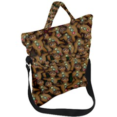 Gingerbread Cookie Collage Fold Over Handle Tote Bag
