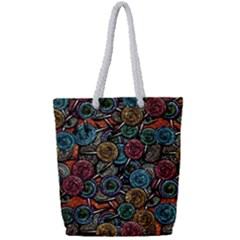 Glitter Graphic Lollipops Collage Full Print Rope Handle Tote (small) by bloomingvinedesign