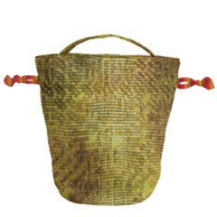 Golden Dragon Scales Pattern Drawstring Bucket Bag by bloomingvinedesign