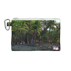 Hawaiian Beach Abstract Canvas Cosmetic Bag (medium) by bloomingvinedesign
