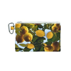 Lemon Tree Pattern Canvas Cosmetic Bag (small) by bloomingvinedesign