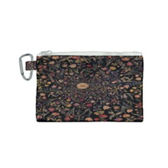 Medieval Flowers On Black Canvas Cosmetic Bag (small) by bloomingvinedesign