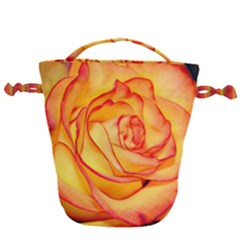 Orange Rose Bright Drawstring Bucket Bag by bloomingvinedesign