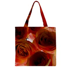 Orange Roses Zipper Grocery Tote Bag by bloomingvinedesign