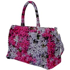 Pink And White Phlox Flowers Duffel Travel Bag by bloomingvinedesign