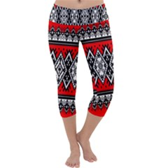 Decoration Pattern Style Retro Capri Yoga Leggings