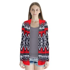 Decoration Pattern Style Retro Drape Collar Cardigan
