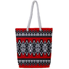 Decoration Pattern Style Retro Full Print Rope Handle Tote (small)